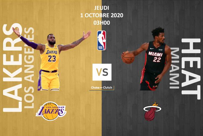 Visuel du pronostic du game 1 des NBA finals Lakers vs Heat